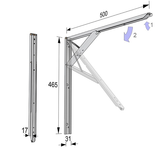 FOLDING SELF BRACKET WITH ERGONOMIC HANDLE 50cm/80kg WHITE